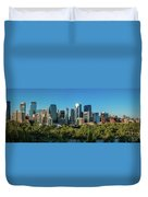 Skylines In A City, Bow River, Calgary Duvet Cover
