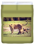 Small Lion Cubs With Mother. Tanzania Duvet Cover