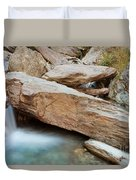 Small Waterfall Casdcading Over Rocks In Blue Pond Duvet Cover