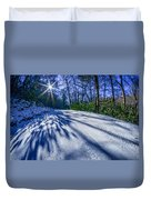 Snow Covered Road Leads Through The Wooded Forest Duvet Cover