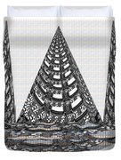 Sparkle Bnw White Pyramid Dome Ancient Arch Architecture Formation Obtained During Deep Meditation W Duvet Cover