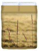 Spider Webs In Field On Tall Grass Duvet Cover