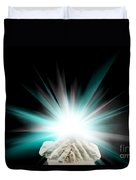 Spiritual Light In Cupped Hands On A Black Background Duvet Cover