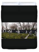 Statues Of Soldiers At A War Memorial Duvet Cover