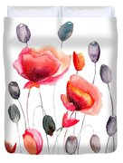 Stylized Poppy Flowers Illustration  Duvet Cover