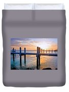 Sunset By The Dock  Duvet Cover