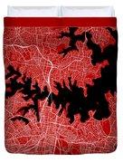 Sydney Street Map - Sydney Australia Road Map Art On Color Duvet Cover
