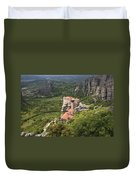 The Holy Monastery Of Rousanou Meteora Greece  Duvet Cover