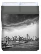 The Storm Over Manhattan Downtown Duvet Cover