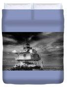 Thomas Point Shoal Lighthouse Black And White Duvet Cover