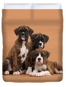 Three Boxer Puppies Duvet Cover