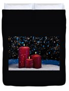 Three Red Candles In Snow  Duvet Cover