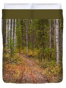 Trail In Golden Aspen Forest Duvet Cover