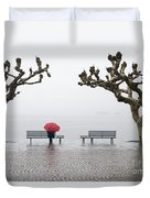 Trees And Benches Duvet Cover
