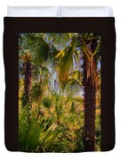 Tropical Forest Palm Trees In Sunlight Duvet Cover