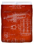 Trumpet Patent From 1939 - Red Duvet Cover