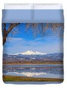 Twin Peaks Longs And Meeker Lake Reflection Duvet Cover