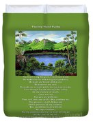 Twin Ponds And 23 Psalm On Green Duvet Cover