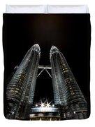 Twin Towers Petronas Kuala Lumpur Malaysia At Night Duvet Cover