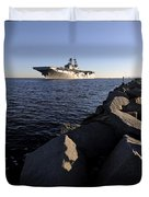 Uss Bataan Arrives At Naval Station Duvet Cover