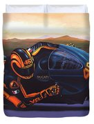 Valentino Rossi On Ducati Duvet Cover by Paul Meijering