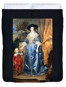 Van Dyck's Queen Henrietta Maria With Sir Jeffrey Hudson Duvet Cover