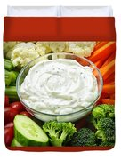 Vegetables And Dip Duvet Cover