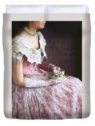 Victorian Woman Taking Tea Duvet Cover
