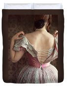 Victorian Woman Undressing Duvet Cover