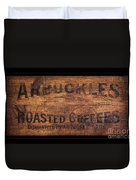 Vintage Arbuckles Roasted Coffee Sign Duvet Cover