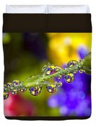 Water Drops On A Flower Stem Duvet Cover