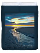 Wells Beach Maine Sunrise Duvet Cover