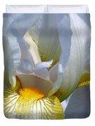 White And Yellow Iris 2 Duvet Cover