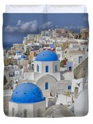 White Buildings With Steep Slope Duvet Cover