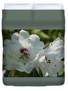 White Rhododendron Blossom Duvet Cover
