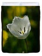 White Tulip On The Green Background Duvet Cover