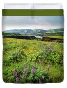 Wildflowers In A Field, Columbia River Duvet Cover