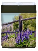 Wildflowers On The Fence Duvet Cover