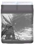 Windmill In The Sky In Black And White Duvet Cover