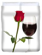 Wine With Red Rose Duvet Cover by Elena Elisseeva