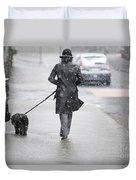 Woman Walking On The Street Duvet Cover