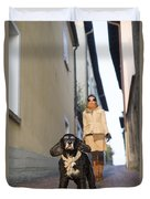 Woman Walking With Her Dog Duvet Cover