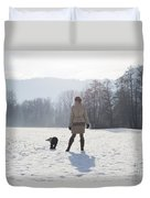 Woman With Her Dog Duvet Cover
