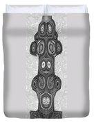 Woodcraft Ghosts Spirits Indian Native Aboriginal Masks Motif Symbol Emblem Ethnic Rituals Display H Duvet Cover
