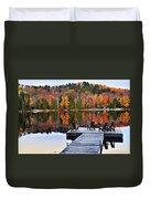 Wooden Dock On Autumn Lake Duvet Cover