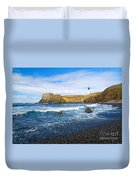 Yaquina Lighthouse On Top Of Rocky Beach Duvet Cover