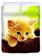 Yellow Kitten Duvet Cover