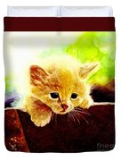 Yellow Kitten Duvet Cover