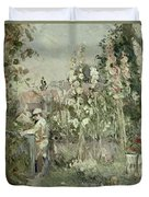 Young Boy In The Hollyhocks Duvet Cover