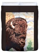 Young Bull At Yellowstone Duvet Cover
